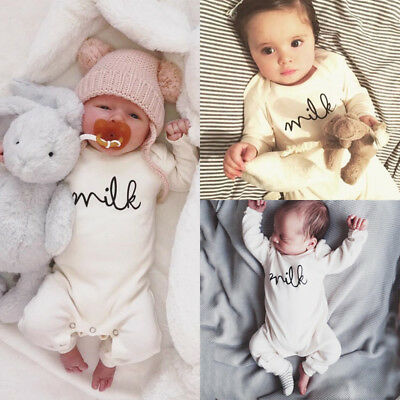 Baby Newborn Boy Girl Milk White Romper Tops Jumpsuit Bodysuit Clothes Outfit UK