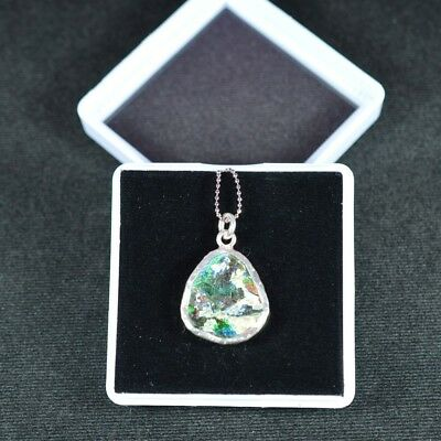 Ancient Roman Glass Pendant 925 Sterling Silver 006