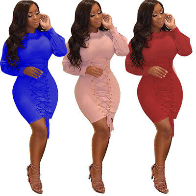 Sexy Women long sleeves bodycon bandage club party cocktail package mini dress