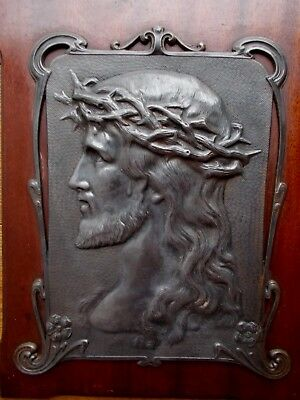 Stylised Antique Art Nouveau Religious Plaque Of Christ~Decorative~Metal On Wood