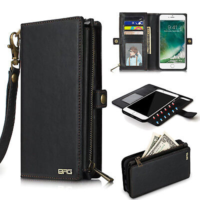 Luxury Leather Wallet Case with Detachable Slim Back Cover For iPhone 7 8 Plus X