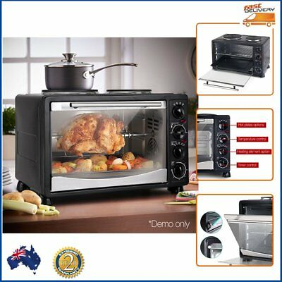 34L Portable Convection Oven Boil Steam Fry Bake Grill Cook Stainless Steel NEW