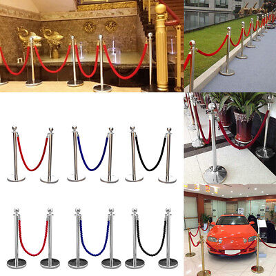 2xPolished Steel Queue Rope Barrier Stands Twisted Rope/Belt Stanchion Set Top