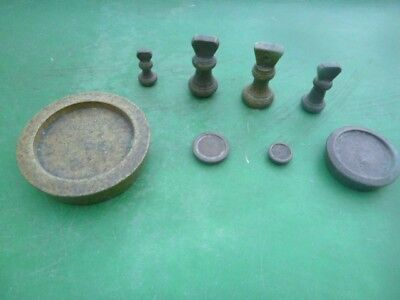 Eight vintage brass imperial weights