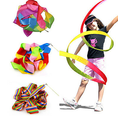 14 Color Dance Ribbon Gym Rhythmic Art Gymnastic Ballet Streamer Twirling Rod BE