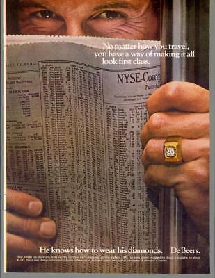 1980 De Beers Diamonds First Class Travel Subway Ring Stock Vintage Print Ad 80s