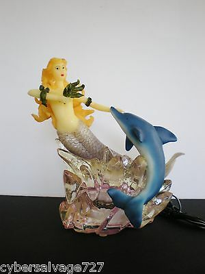 Dolphin And Mermaid On Wave 110 Volt Night Lamp Nautical Decorative Lamp