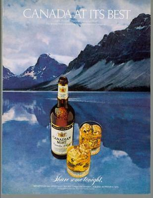 1980 Canadian Mist Whisky Canada at its Best Mountain Lake Vintage Print Ad 80s