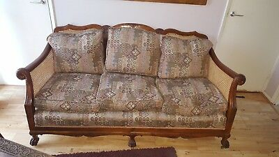 Antique English 3 Piece carved wood Bergere Suite no reserve.
