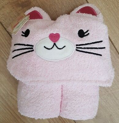 Pink cat Face Hooded Towel for Baby girl George. 100% cotton.NWT