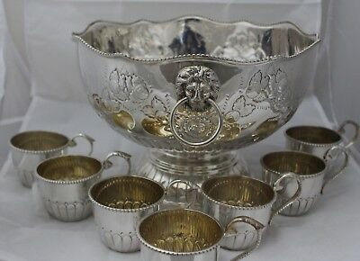 Silver Plate LIONS HEAD Punch Bowl with 7 Cups - 250
