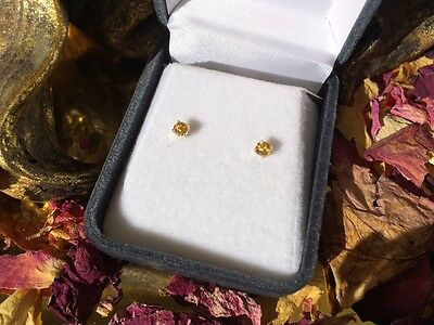 Brilliant natural golden yellow Citrine 3mm sterling silver claw stud earrings ☀