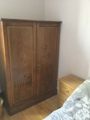 Antique original polished walnut small wardrobe, inlaid, in very good condition