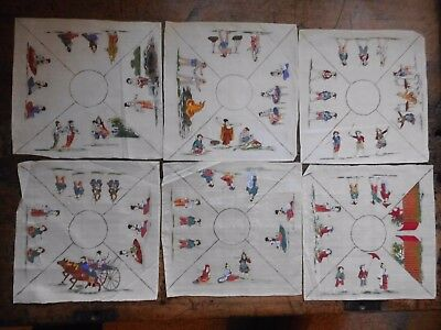 Antique Set Of 6 Japanese Silk Hand-Painted Place Settings? Handkerchief C 1900