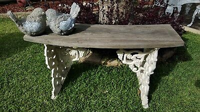 Vintage French Provincial Grapevine Design Cast Iron Metal &timber Garden Bench
