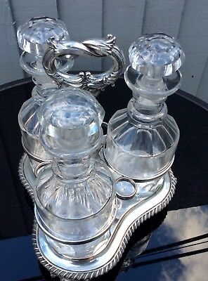 Antique Silver Plated Tantalus Stand Including 3 Decanters