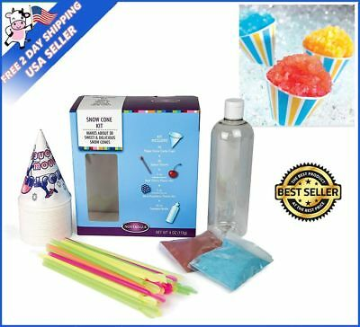 Nostalgia Snow Cone Maker Supply Kit w/ Flavor Syrups Serving Cups Spoon Party