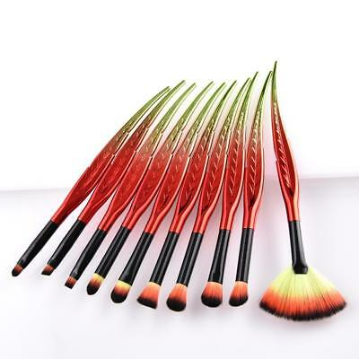 10pcs Soft Makeup Brushes Set Angled Eyeshadow Liner Brow Lip Cosmetic Tool