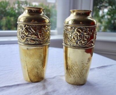 "Pair Of Art Deco ""purely British"" Brand Brass Vases - Arts And Crafts"