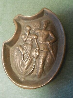 Risqué, Naughty Small BRASS TRAY featuring a Soldier and a Miss
