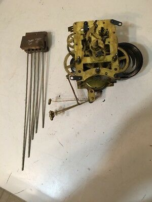 Rare Antique Waterbury Westminster Chime Movement & Rods Parts Project