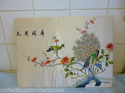 Beautiful Vintage Chinese Floral  Embroidery  With Birds