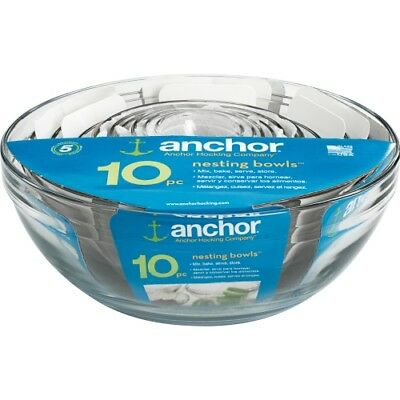 NEW Anchor Hocking 82665L11 10 Piece Set Table Ware Mixing Bowl Value Pack 10pc