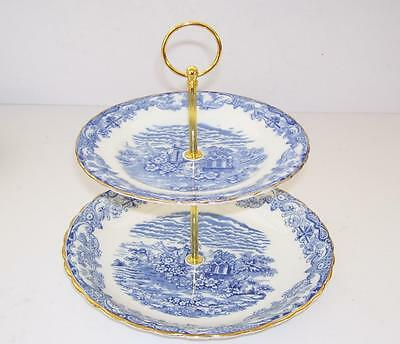English Bone 2 Tier Cake Stand.Made from Vintage Thomas Forrester Plates.