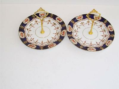 Vintage Stanley Cobalt and Gilt Hand Painted 2 Tier Cake/Biscuit Stands x 2.