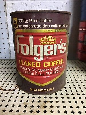 Vintage Folgers Flaked Mountain Grown Electric Perk Coffee Can Tin 39oz