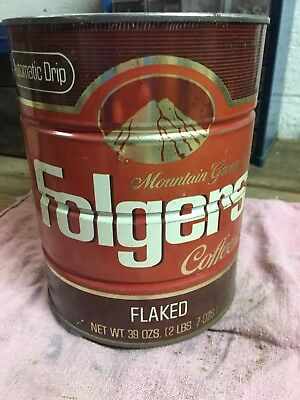 Vintage Folgers Coffee Can Tin 39 oz (2 lbs) Mountain Grown Folgers Flaked