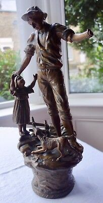 Large Victorian Spelter Figure Of A Man, Girl Child And Dog