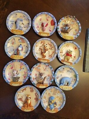 Winnie The Pooh Lot(11) Bradford Exchange Collector 100 Acre Days 3D Wall Plates