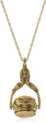 Vintage Collection Gold Tone Rotating Locket Trio Long Necklace Free Shipping