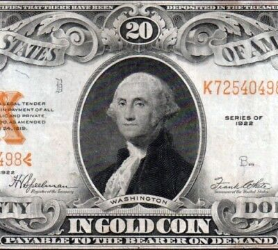 1922 $20 Gold Certificate Nice Mid-HIGH GRADE!