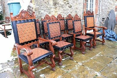 8 Lovely French Gothic Carved Solid Mahogany Embossed Leather Seat Chairs