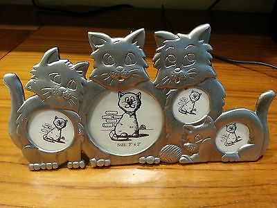 "Cute 4-Cat Picture Frame - Holds 4 Photos - 7"" x 3-5/8"" - Excellent Condition!"