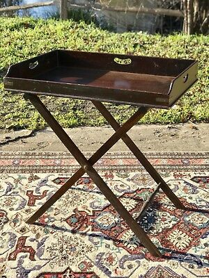 Antique Mahogany Butlers Tray On Stand Georgian Victorian