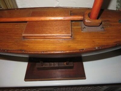 Old wooden model pond yacht.