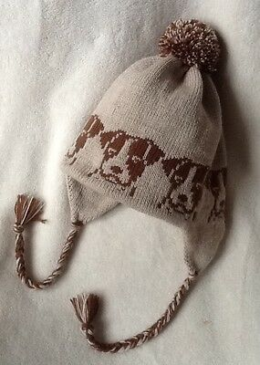 JACK RUSSELL dog NEW knitted lined ADULT SIZE BEIGE TRAPPER EAR FLAP HAT