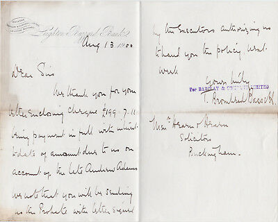 1900 Letter - Barclay & Company Limited - Leighton Buzzard Bank