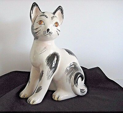 VINTAGE GLAZED CERAMIC HAND PAINTED CAT AMBER EYES BLACK & WHITE Raymor ITALY