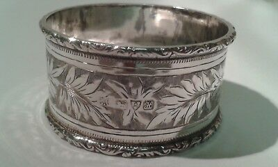 Antique Decorated Silver Napkin Ring - Chester 1908 - 19 gms.