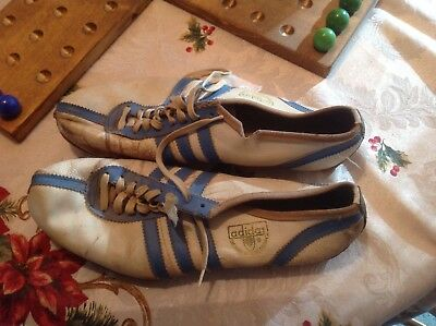 Vintage Adidas Track Shoes 9 - 10.5 ? White & Blue Made In Western Germany NR
