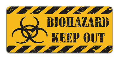 Biohazard Keep Out Vintage Metal Caution Sign Bathroom, Bedroom, Man Cave Decor