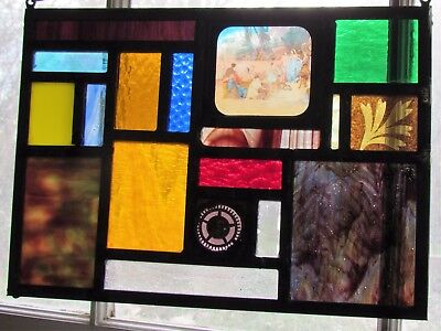 Stained Glass Cabinet of Curiosities Featuring Magic Lantern Window Panel