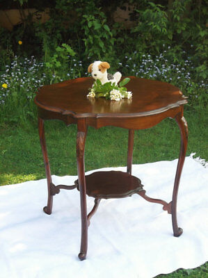 Antique Edwardian furniture Polished mahogany 2 tier table side table hall Table