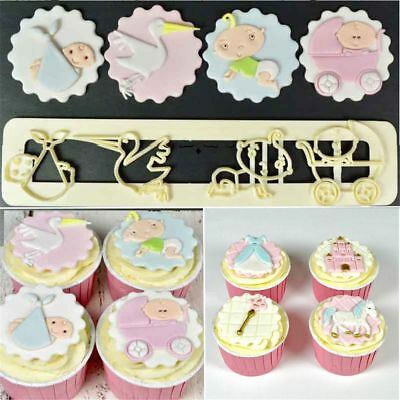 Tools Sugar Craft Fondant Cake Mold Christmas Baby Print Plunger Cookie Cutter