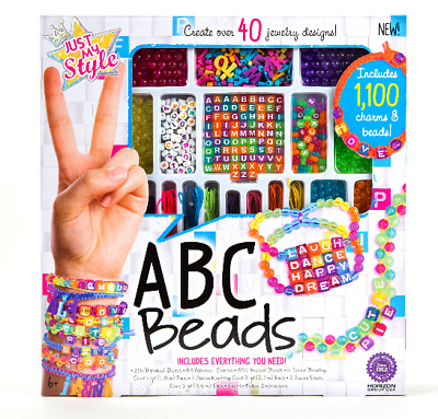 Just My Style ABC BEADS Jewelry Kit NECKLACES & BRACELETS w 1,100 Charms & Beads