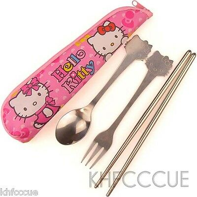 Hello Kitty Tableware Set Fork Spoon Chopsticks Travel Set with Zipper Bag K70